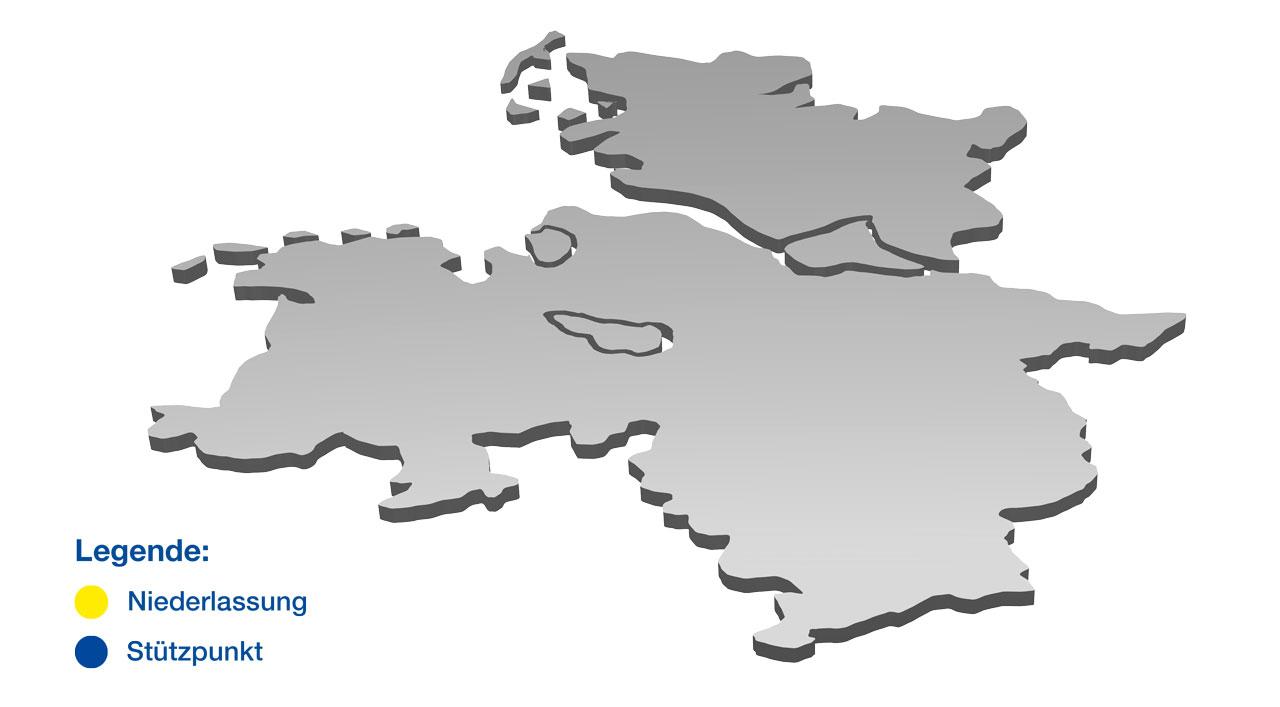 aktiv Gebäudedienste - Unsere Standorte in Bremen, Bremerhaven, Hamburg, Hannover, Kiel, Oldenburg und Osnabrück